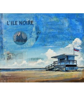 The Black Island - Lifeguard Hut in Malibu - Painting by Bertrand Lefebvre