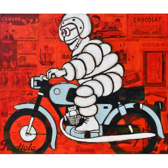 Michelin on gray motorcycle on red background of old advertisements - Painting by Yann Kempen