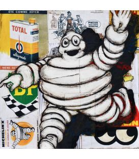 Michelin against the backdrop of advertisements for motor oils - Painting by Yann Kempen