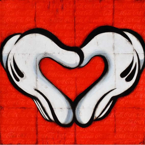 My heart my love - Mickey Freemason white gloves on a Coca-Cola background - Painting by Kromo