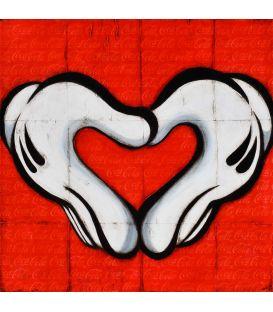 Mon cœur mon amour - Gants blancs francs-maçons de Mickey sur fond de Coca-Cola - Tableau de Kromo