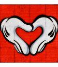Mon cœur mon amour - Gants blancs francs-maçons de Mickey sur fond de Coca-Cola