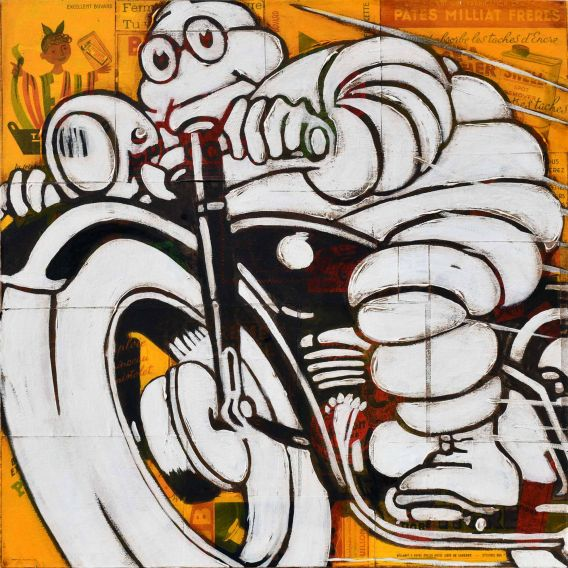 Michelin on black motorcycle on yellow background - Painting by Yann Kempen