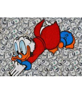 Une belle piscine - Picsou plonge dans des billets de 10 dollars - Tableau de Kromo