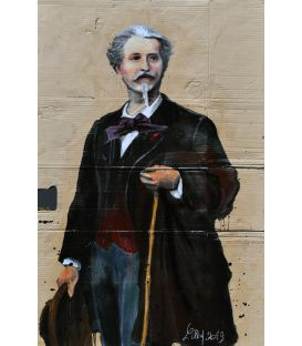 Full-length portrait of Frédéric Mistral - Painting by Lilly