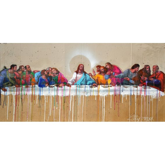 The Last Supper - Jesus, surrounded by his disciples - Painting by Lilly