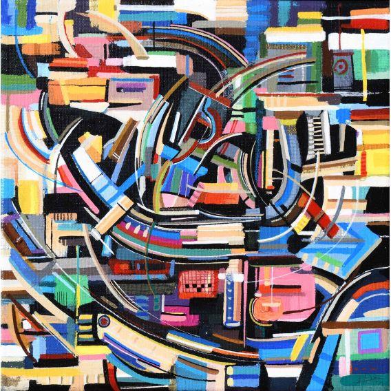 Abstraction des restes n°14 - Acrylique sur toile de Didier Delgado