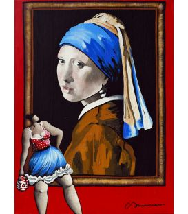 "Julie is not surprised that Vermeer's ""Girl with a Pearl Earring"" is so successful - Corinne Brenner's painting"