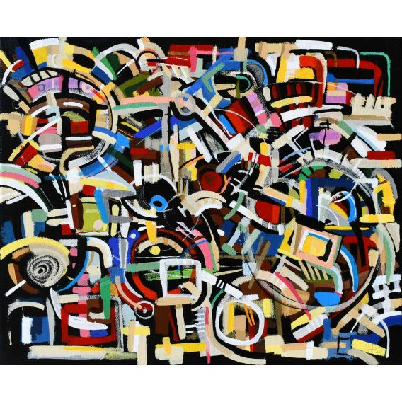 Abstraction of the remains n°25 - Acrylic on canvas by Didier Delgado