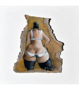 The girl on cardboard