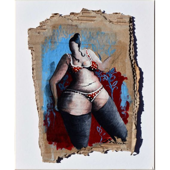 Julie tears up her tapestry - Acrylic on cardboard by Corinne Brenner