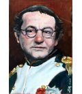 Coluche Bonaparte - Oil on cardboard by Lilly