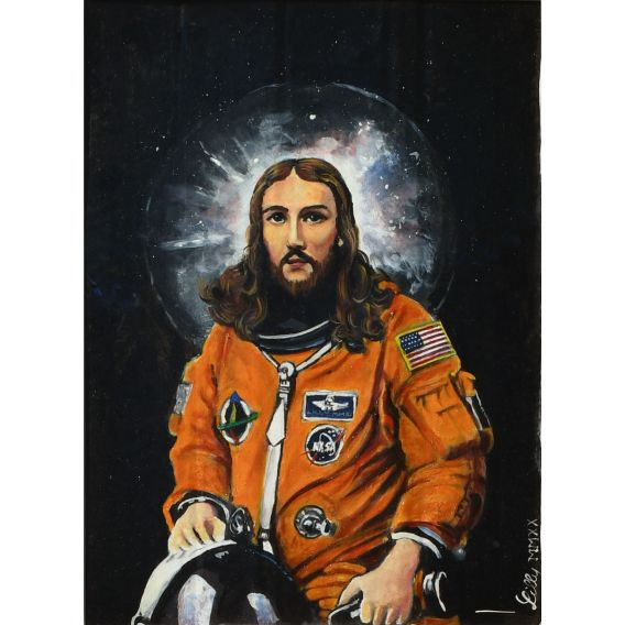 Jésus of Nasa - Oil on cardboard by Lilly