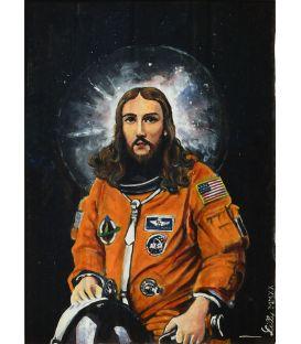 Jésus de Nasa - Huile sur carton de Lilly