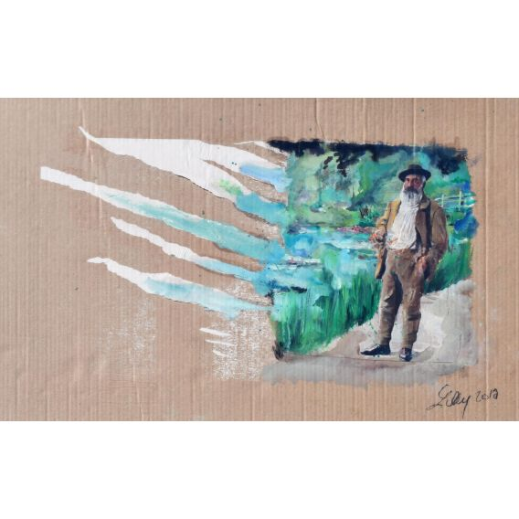 Claude Monet in front of Giverny - Oil on cardboard by Lilly
