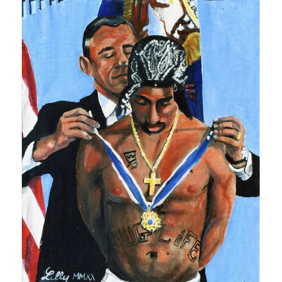 Barack Obama and Tupac - Oil on cardboard by Lilly