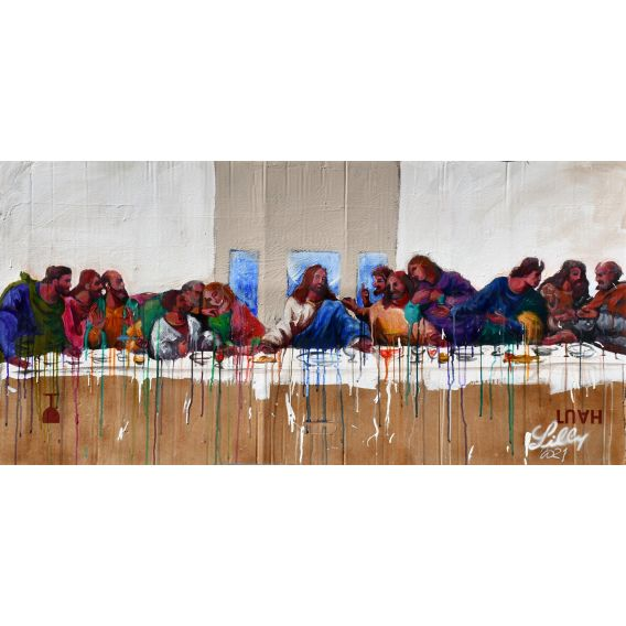 Jesus and his apostles - The Last Supper - Painting by Lilly