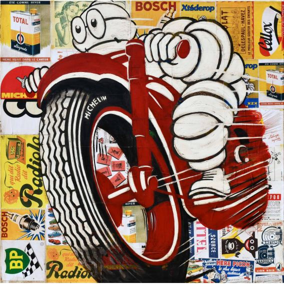 Michelin Man on a red motorcycle - Painting by Yann Kempen