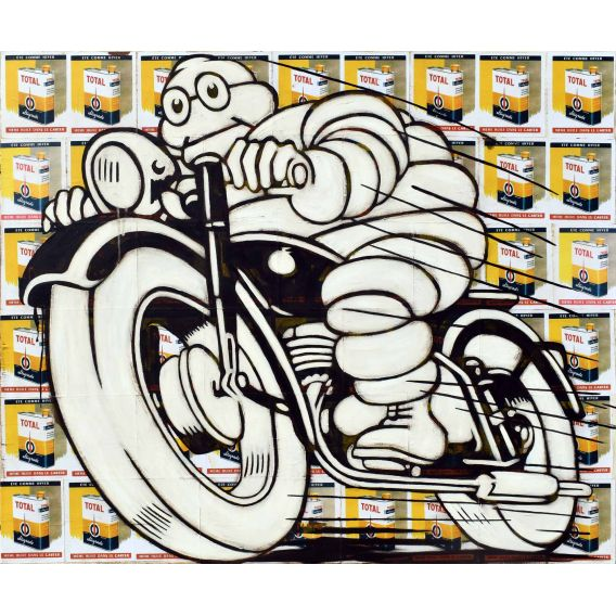 Michelin on a black motorbike on a background of old advertisements for Total oil - Painting by Yann Kempen