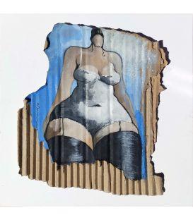La fille dans le jardin - Acrylique sur carton de Corinne Brenner