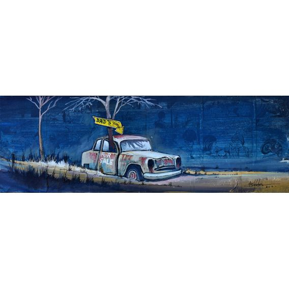 Dad's car - Painting by Bertrand Lefebvre