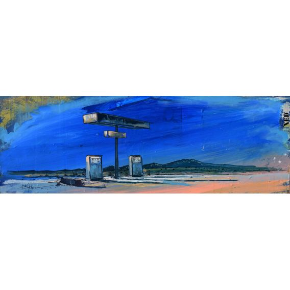 Gas station - Pumping road - Painting by Bertrand Lefebvre