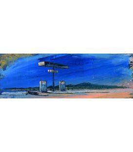 Poste à essence - Pumping road - Tableau de Bertrand Lefebvre