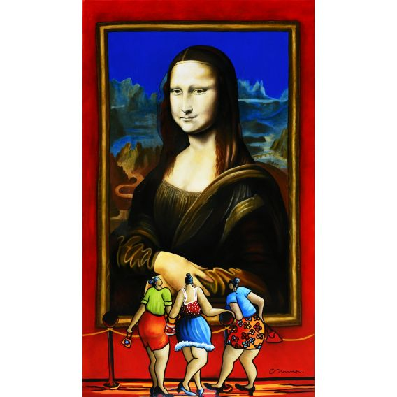 Julie and her friends in front of the great Mona - Painting by Corinne Brenner