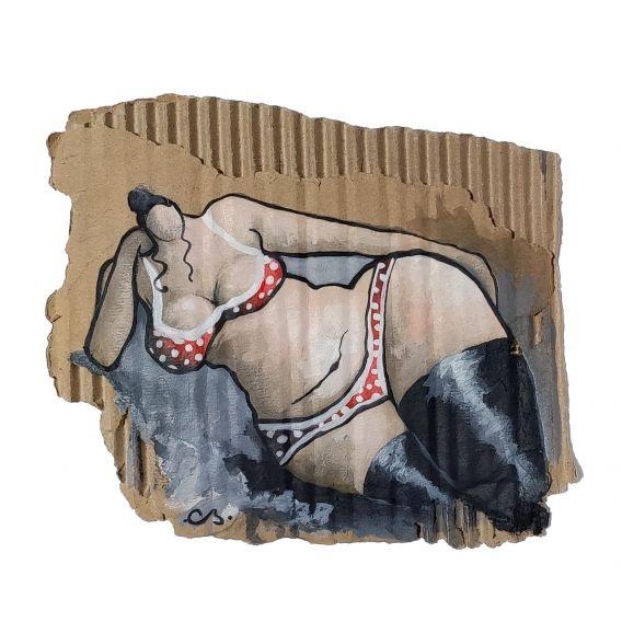 Drowsy julie - Acrylic on cardboard by Corinne Brenner