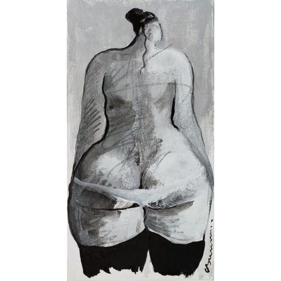 Series: praise of the buttocks n°1 - Small artwork on cardboard