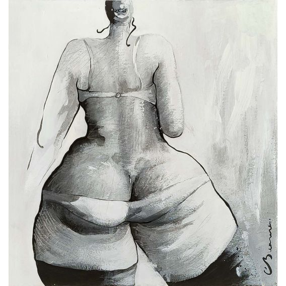 Series: praise of the buttocks n°1 - Acrylic on cardboard by Corinne Brenner