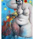 La libellule et la femme nue dans le jardin à pois