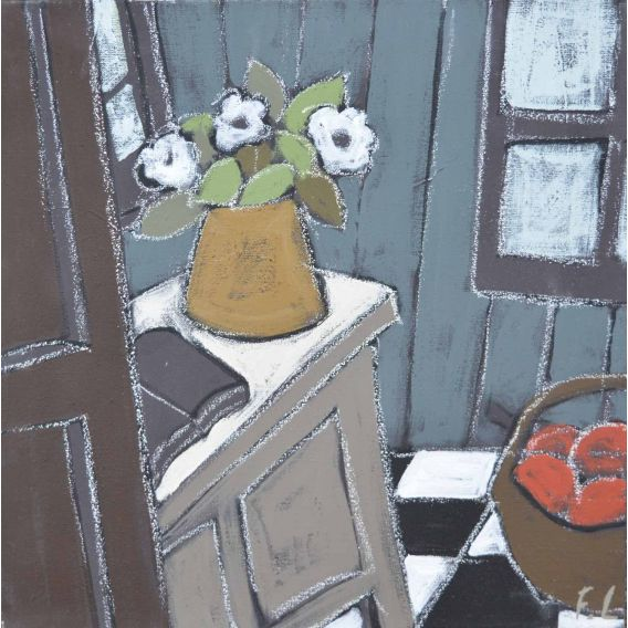 Le bouquet et le panier de pommes rouges