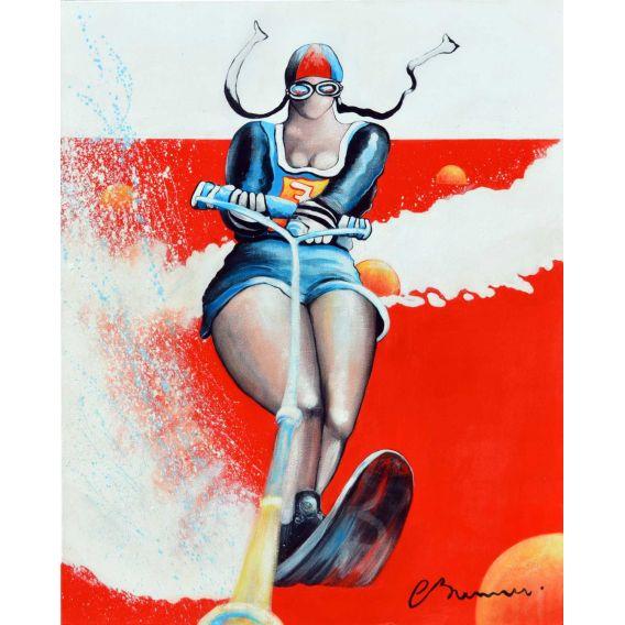 Compétition de ski nautique - Dossard n°7