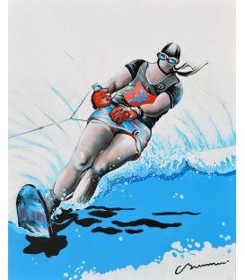 Ski nautique sur la mer d'Hokusai