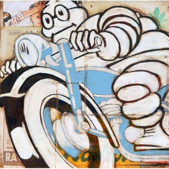 Michelin Man on a blue motorcycle