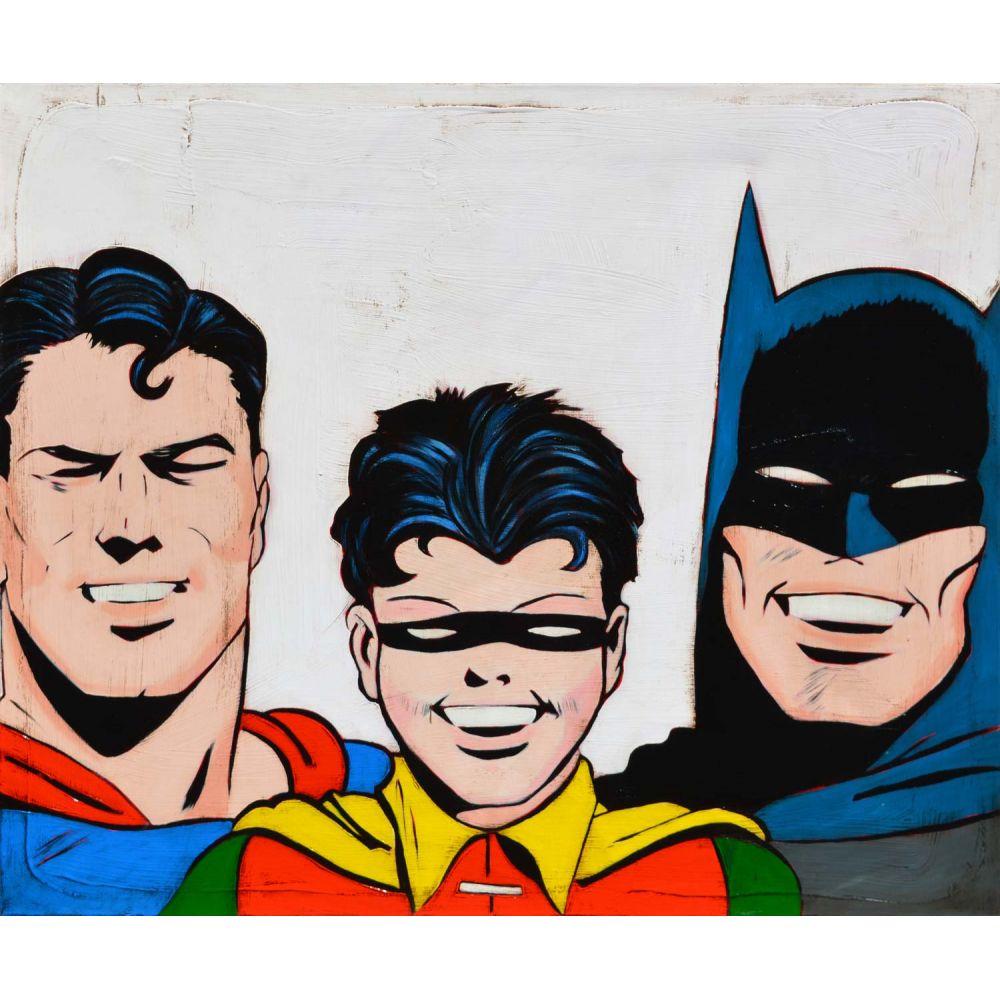 Batman robin et superman tableau de comics yann kempen galerie d 39 art contemporain le - Image de batman et robin ...