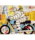 Michelin Man on a blue motorcycle on background of old advertisements