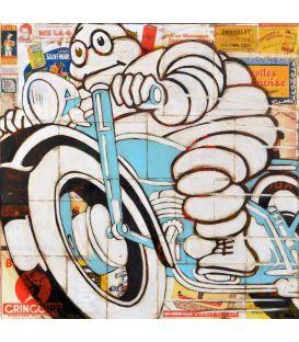Michelin Man on a blue motorcycle n°2