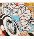 Michelin Man on a blue motorcycle n°2